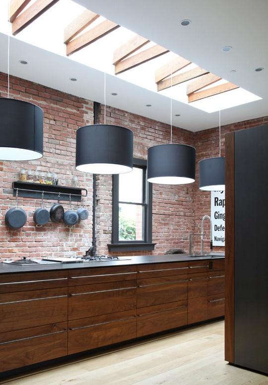 cucine parete mattoni 35