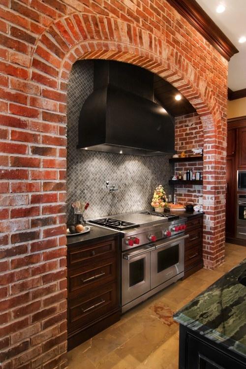 cucine parete mattoni 36