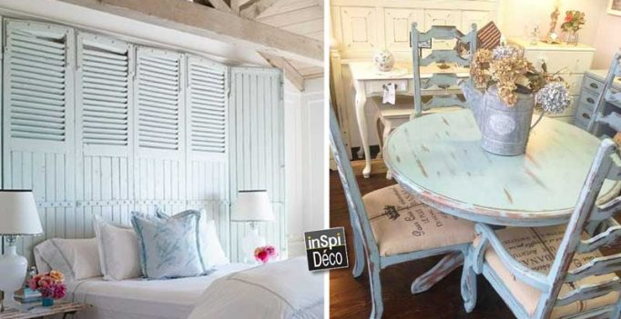 style shabby chic en bleu 20 id es pour vous inspirer. Black Bedroom Furniture Sets. Home Design Ideas