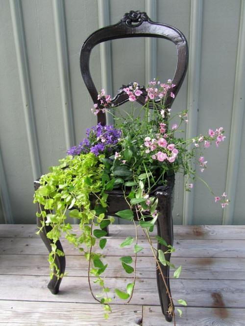 Vecchia sedia fiorita