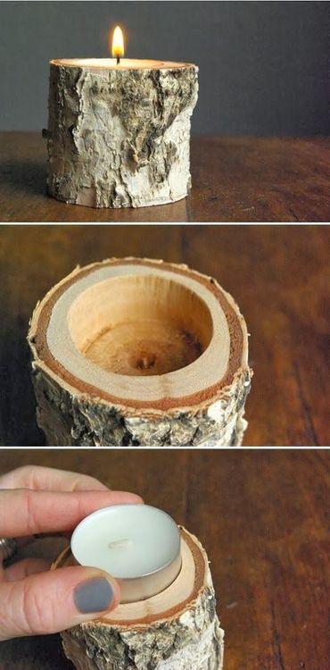 Créer un bougeoir avec un tronc