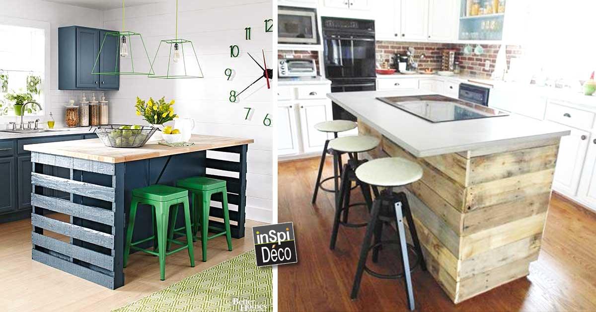 Fabriquer un ilot de cuisine en palettes voici 15 id es pour vous inspirer - Meuble cuisine en palette ...