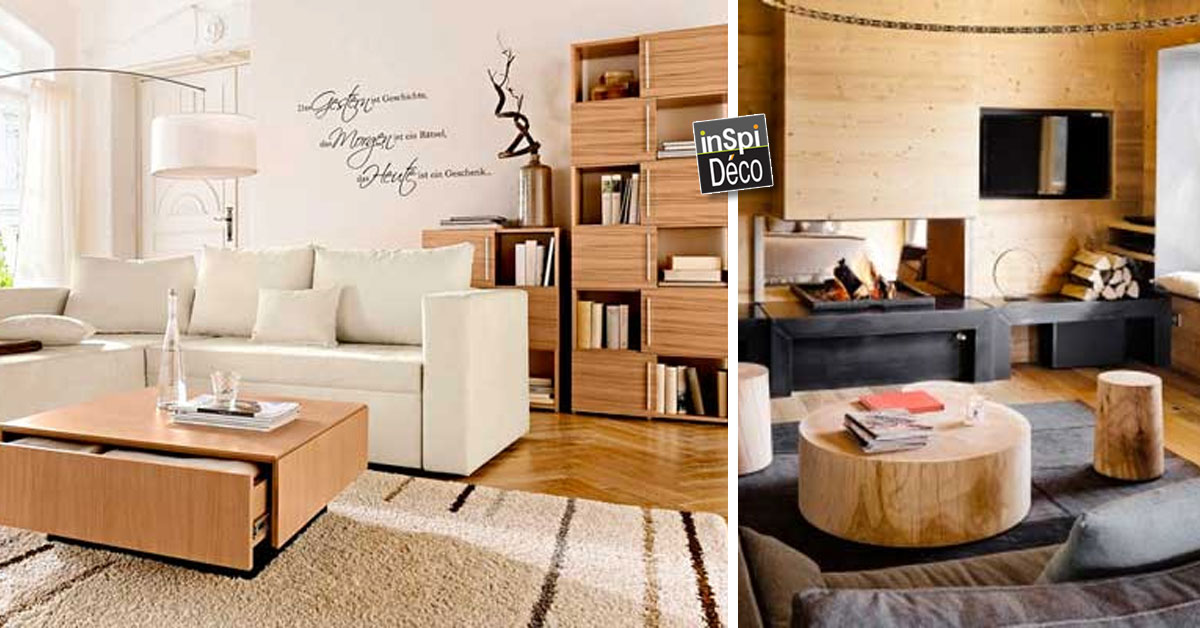 marier le bois dans le salon 20 id es inspirantes. Black Bedroom Furniture Sets. Home Design Ideas