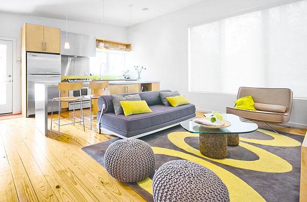 idee salone legno e giallo