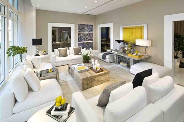 idee salone legno e bianco