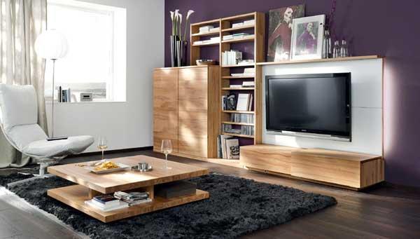 arredo salone legno e viola