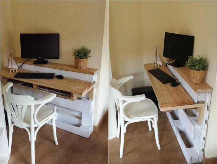 Des meubles originaux en bois de palette 20 id es for Fabriquer un bureau informatique