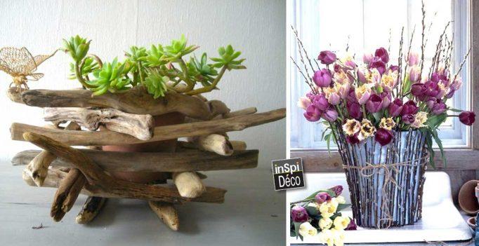 un cache pot avec bois et brindilles 20 id es originales. Black Bedroom Furniture Sets. Home Design Ideas