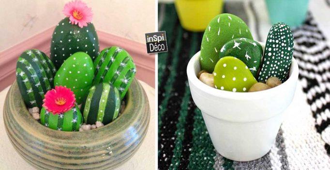 Faire des cactus avec des galets 20 idées tuto n10