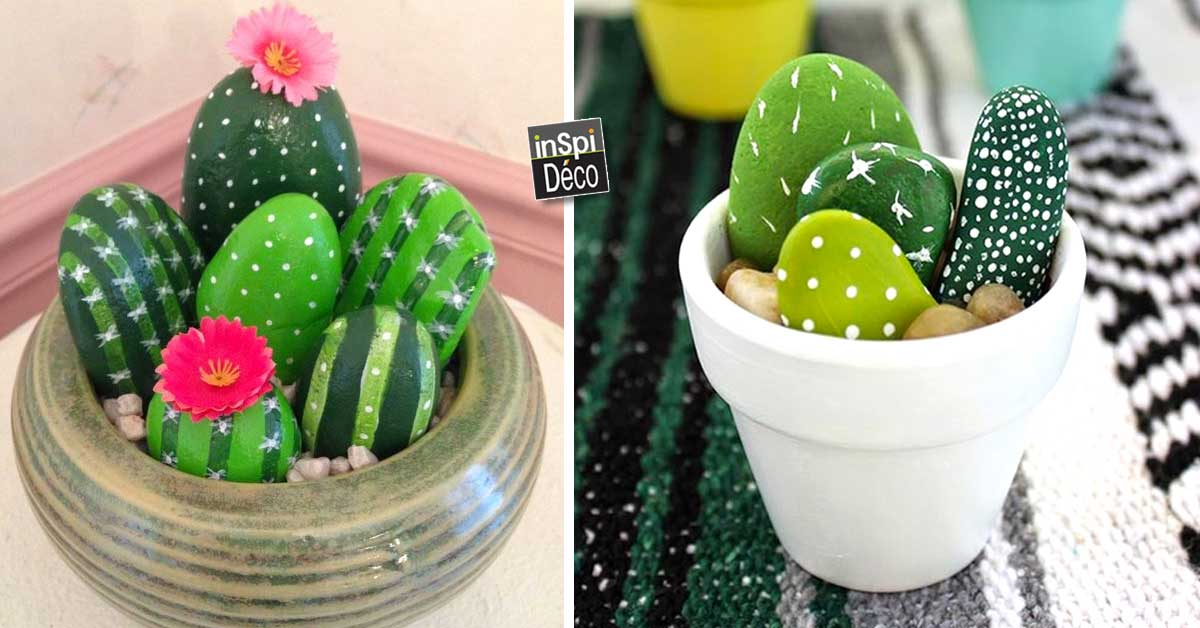 faire des cactus avec des galets 20 id es tuto n 10. Black Bedroom Furniture Sets. Home Design Ideas