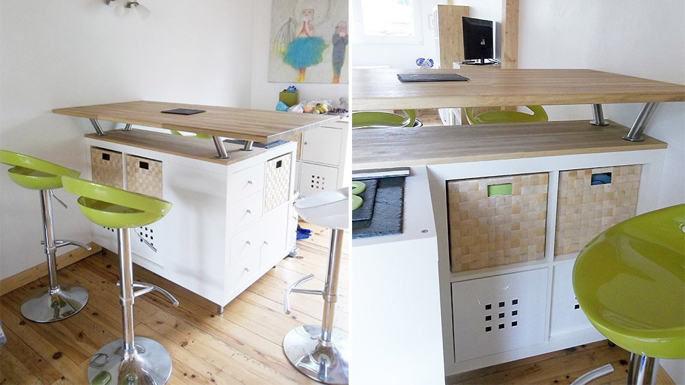 Transform An IKEA Shelf In A Kitchen Island Examples - Meuble bar cuisine ikea pour idees de deco de cuisine