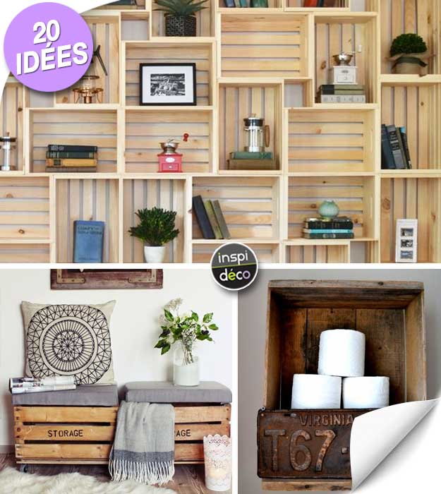 d co avec des caisses en bois 20 id es laissez vous inspirer. Black Bedroom Furniture Sets. Home Design Ideas