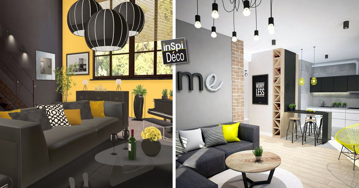 salon gris et jaune dco salon gris avec quelle couleur choix ides et astuces en photos with. Black Bedroom Furniture Sets. Home Design Ideas