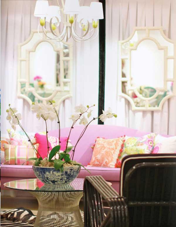 idea divano rosa salone