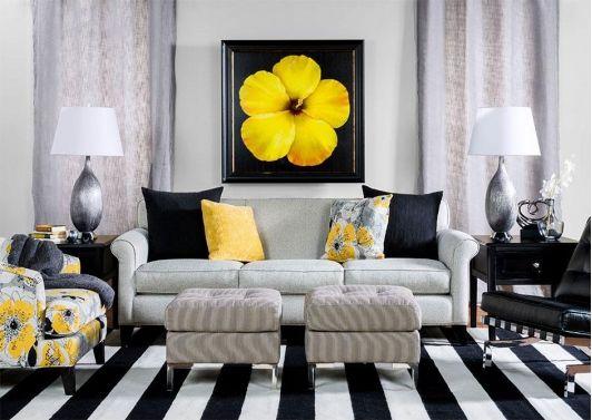 idee salone in nero e giallo 10