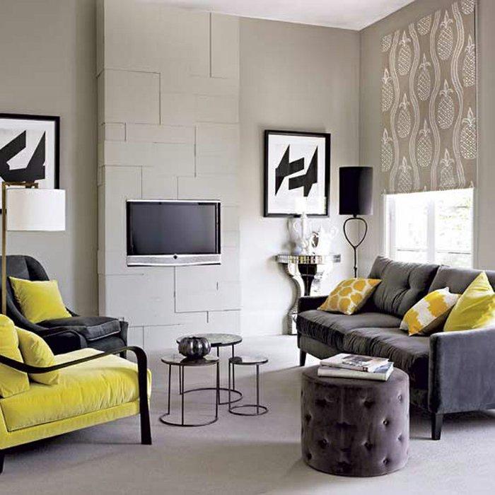 idee salone in nero e giallo 16