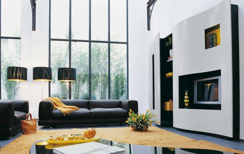 idee salone in nero e giallo 17