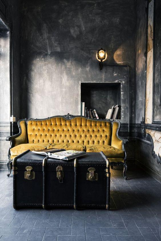 idee salone in nero e giallo 19