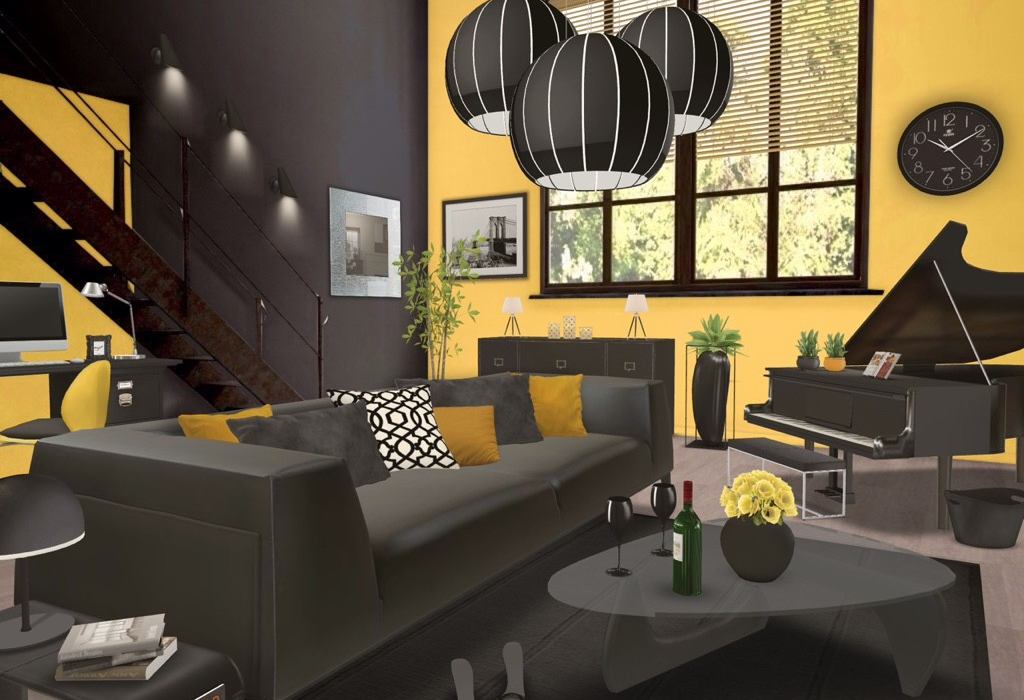 d co jaune et noir dans le salon 20 id es pour vous. Black Bedroom Furniture Sets. Home Design Ideas