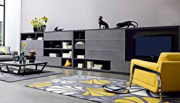 idee salone in nero e giallo 20