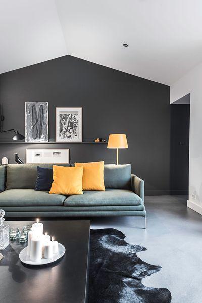 idee salone in nero e giallo 5