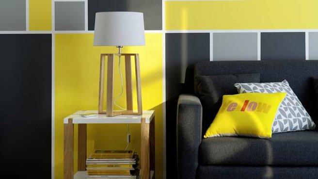 idee salone in nero e giallo 6