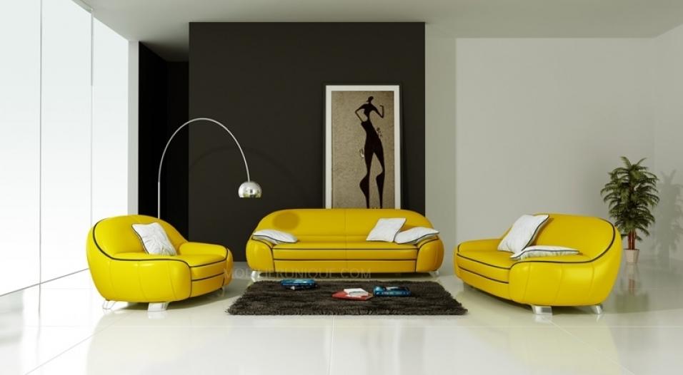 idee salone in nero e giallo 8