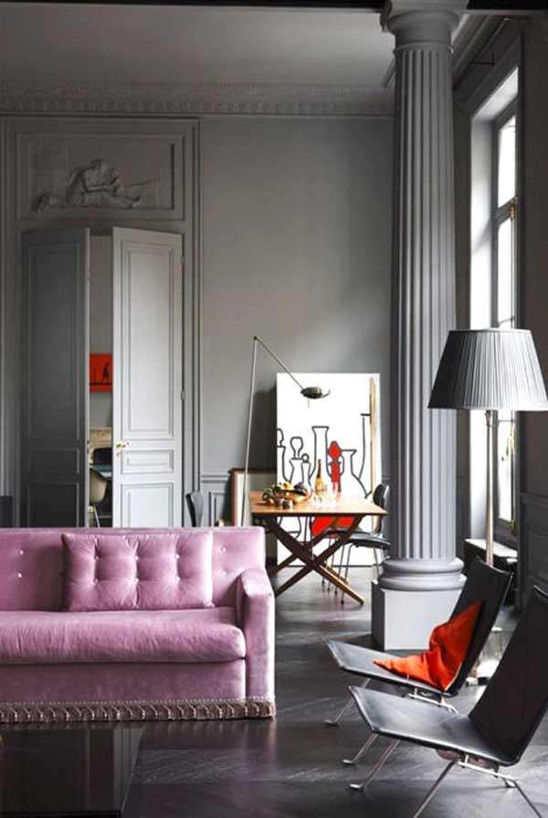 salone rosa e grigio
