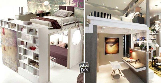 Gagner de la place avec un lit mezzanine 20 id es - Letto matrimoniale con soppalco ikea ...