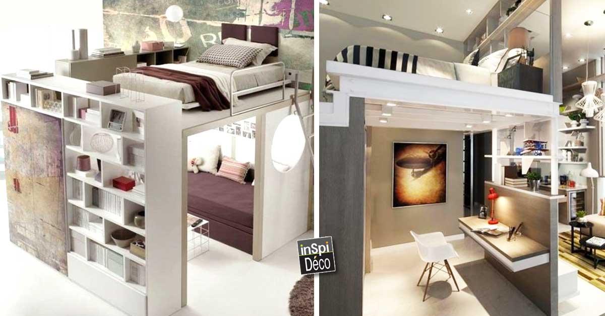 Gagner de la place avec un lit mezzanine! 20 idées...