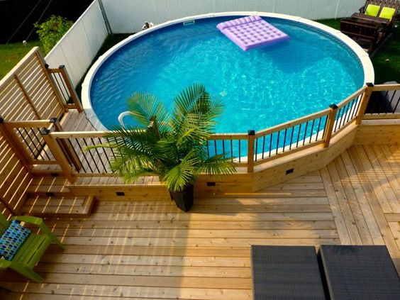 Piscina acima do solo com deck dad u stuff for dads dad for Jacuzzi exterior enterrado