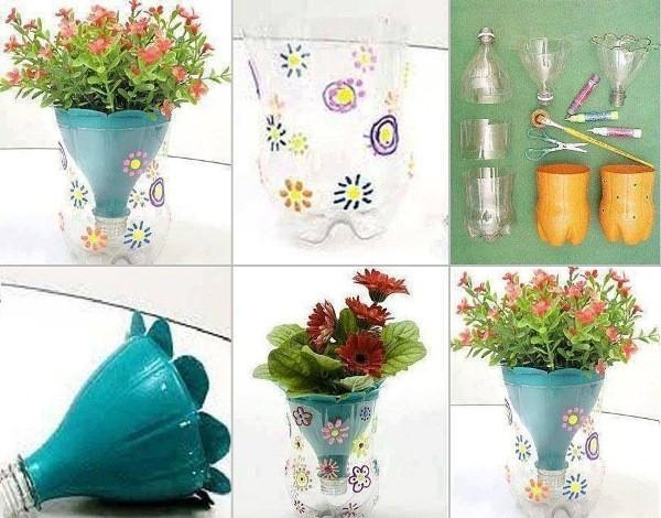 un petit pot de fleurs avec une bouteille en plastique! 17 idées