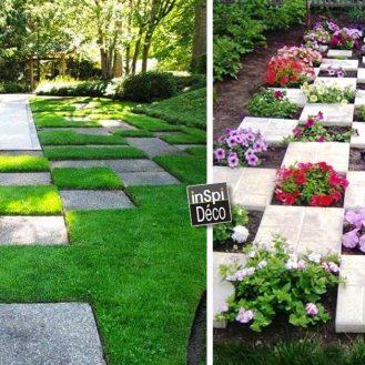 poser-les-dalles-de-jardin-de-maniere-originale