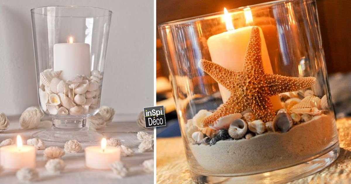 D co bord de mer avec bougie dans un vase 15 id es - Deco bord de mer salon ...