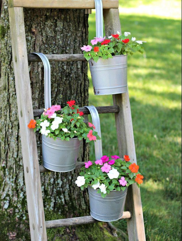 r cup rer une vieille chelle pour d corer son jardin 20 id es inspirantes. Black Bedroom Furniture Sets. Home Design Ideas