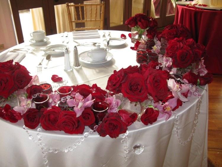 Déco tables de mariage avec des roses