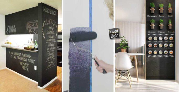 peindre un mur avec de la peinture ardoise 20 id es pour vous inspirer. Black Bedroom Furniture Sets. Home Design Ideas