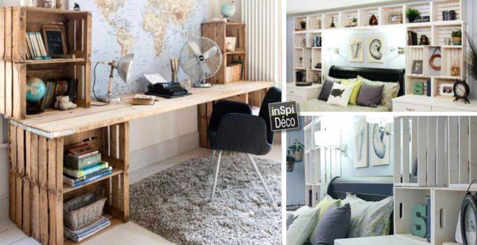 Bureau caisse bois: fabriquer un meuble tv avec des caisses en bois