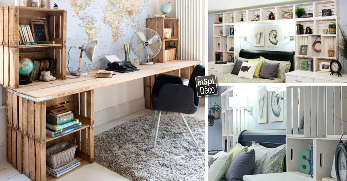 int grer des caisses en bois dans la d co de la chambre. Black Bedroom Furniture Sets. Home Design Ideas