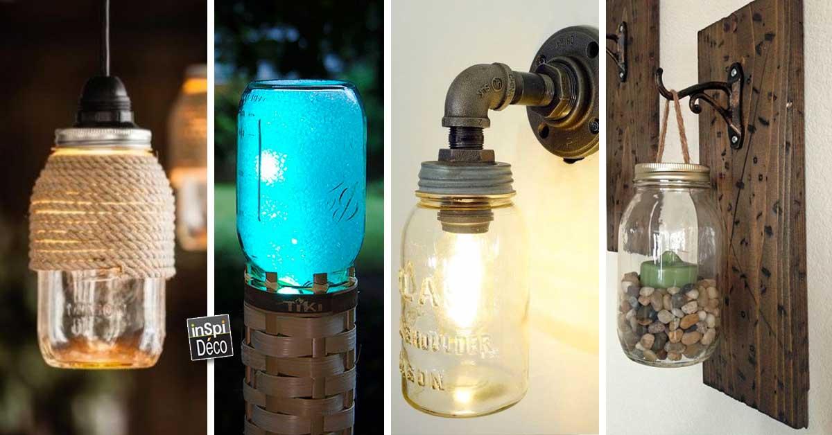 lampe design avec des bocaux en verre 20 id es pour vous inspirer. Black Bedroom Furniture Sets. Home Design Ideas
