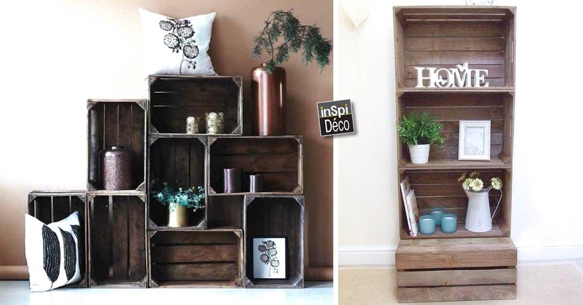 Des cagettes en bois 20 id es pour r ussir son meuble - Deco salon bois ...