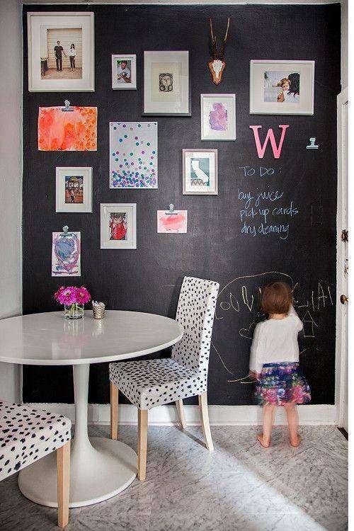 Peindre un mur avec de la peinture ardoise 20 id es pour - Decorer un mur avec des cadres photos ...