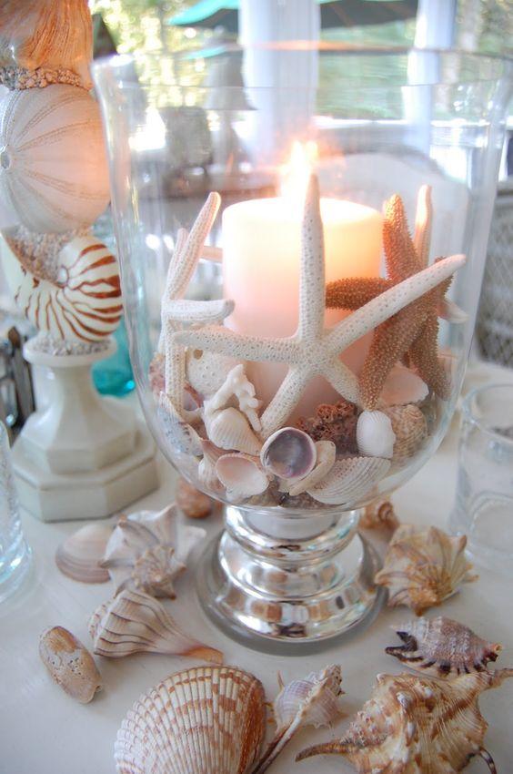 Candele in Vaso a tema mare