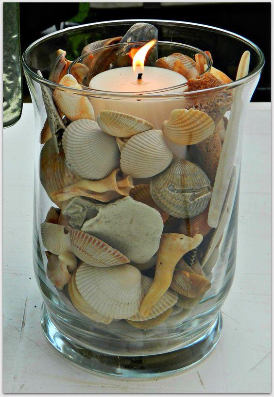 D co bord de mer avec bougie dans un vase 15 id es for Idees deco bord de mer
