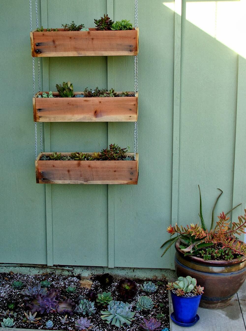 bac à fleurs en bois de palette
