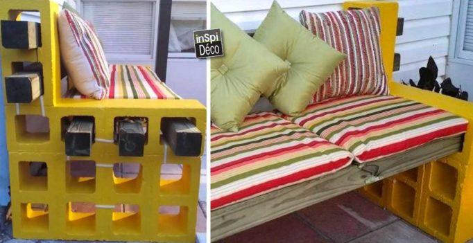 Garden original: how to create a garden with a cinder block bench