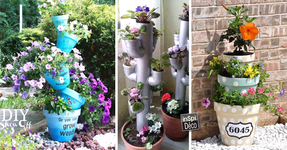 Une colonne de fleurs pour une déco originale! 20 idées + VIDEO