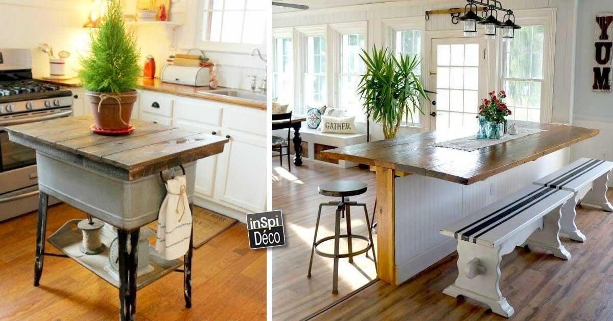 R aliser un ilot cuisine original 20 id es cr atives pour vous inspirer - Fabriquer un ilot de cuisine ...