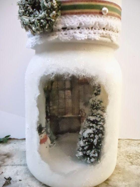 d corations d 39 hiver avec des pots en verre recycl s 20. Black Bedroom Furniture Sets. Home Design Ideas