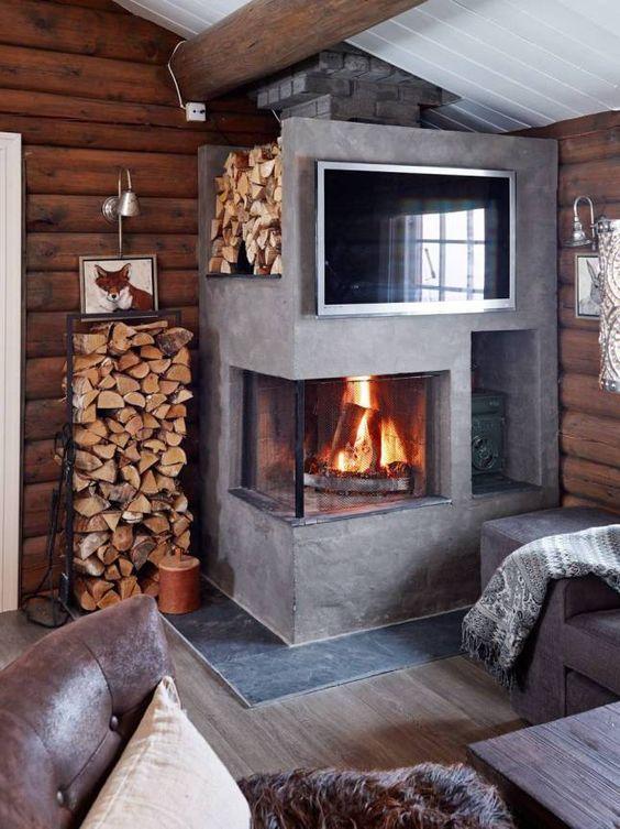 Sistemare la legna in casa d'inverno